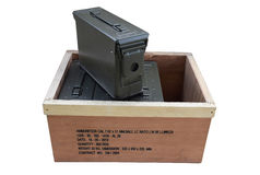 Es ist ein Kasten Munition Stockfoto