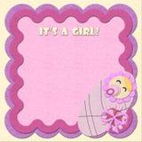 Es ist ein Mädchen! Geburtstagfilz-Grußkarte stock abbildung