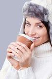 Es ist Zeit für warme Getränke Stockbild