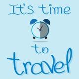Es ist Zeit, zu reisen Zitat Hand gezeichnete Beschriftung mit flacher Uhr Stockfoto