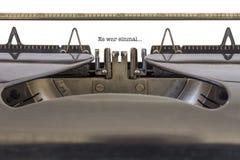 Es-Krieg einmal Schreibmaschine Lizenzfreie Stockfotografie