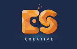 ES Letter With Origami Triangles Logo. Creative Yellow Orange Or Stock Photo