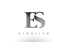 ES Logo Design With Multiple Lines and Black and White Colors. Royalty Free Stock Images