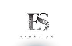 ES Logo Design With Multiple Lines e cores preto e branco Imagens de Stock Royalty Free