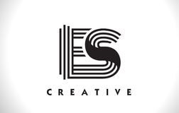 ES Logo Letter With Black Lines Design. Line Letter Vector Illus Royalty Free Stock Photography