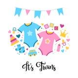 Es los gemelos Cosas del bebé de la tarjeta de la fiesta de bienvenida al bebé Ejemplo exhausto del garabato de la mano del vecto stock de ilustración