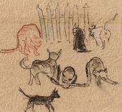 Gatos cerca de una cerca ilustración del vector