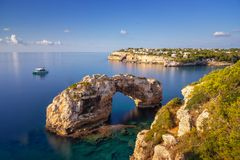 Es Pontas natural arch in Mallorca, royalty free stock photography