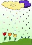 Es regnet von den Wolken der Stimmung lizenzfreie abbildung