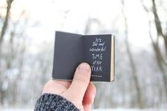 Es ` s die wunderbarste Jahreszeit Übergeben Sie das Halten eines Buches mit Text auf Hintergrund - Park des verschneiten Winters Lizenzfreie Stockfotos