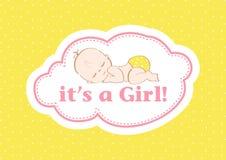 Es ` s ein Mädchen! , schöne Karte, zum des neuen Familienmitglieds zu feiern In einem Pastellhintergrund! lizenzfreie abbildung