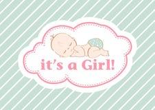 Es ` s ein Mädchen! , schöne Karte, zum des neuen Familienmitglieds zu feiern In einem Pastellhintergrund! stock abbildung