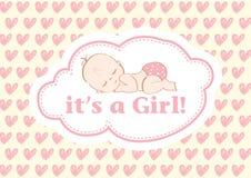 Es ` s ein Mädchen! , schöne Karte, zum des neuen Familienmitglieds zu feiern In einem Pastellhintergrund! vektor abbildung