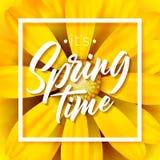 Es ` s Frühlingszeit-Vektorillustration mit schöner bunter Blume auf gelbem Hintergrund Blumenmusterschablone mit Lizenzfreie Stockfotografie