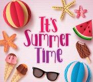Es ` s Sommerzeit-Vektorhintergrunddesign mit buntem Text lizenzfreie abbildung