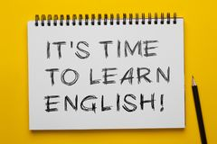 Es ` s Zeit, Englisch zu lernen stockbilder