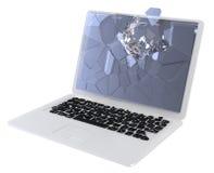 ES Sicherheitskonzept - schädigender Laptop Lizenzfreie Stockfotografie