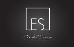 ES Square Frame Letter Logo Design with Black and White Colors. Royalty Free Stock Images
