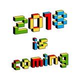 2018 es texto que viene en el estilo de viejos videojuegos de 8 bits Letras coloridas vibrantes del pixel 3D Cartel del Año Nuevo Imagen de archivo