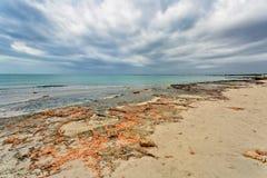ES Trenc海滩在阴沉的天空下 免版税库存照片