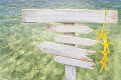 Es Trenc beach. Rustic white empty wood signs with yellow starfish over fresh green ocean water at Es Trenc, Mallorca Stock Photo