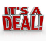 Es un acuerdo o una venta de las palabras del reparto 3D Fotos de archivo