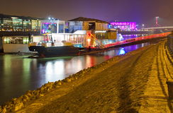A38 es un barco del concierto en el río Danubio en Budapest Imagen de archivo libre de regalías