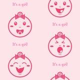 Es un fondo inconsútil del color de rosa de la muchacha con el gir del bebé Fotos de archivo libres de regalías
