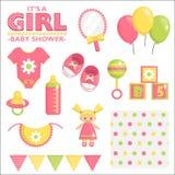 Es un sistema de la fiesta de bienvenida al bebé de la muchacha Foto de archivo libre de regalías