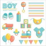 Es un sistema de la fiesta de bienvenida al bebé del muchacho Imagenes de archivo