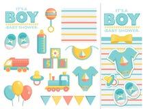 Es un sistema de la fiesta de bienvenida al bebé del muchacho Fotos de archivo libres de regalías