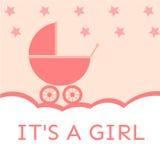 Es una invitación de la fiesta de bienvenida al bebé de la muchacha fotos de archivo libres de regalías