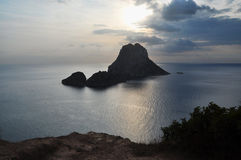 Es Vedra island. Panorama view of the island of Es Vedra, Ibiza stock photo