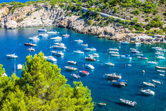 Es vedra island of Ibiza  Cala d Hort in Balearic islands Royalty Free Stock Photos