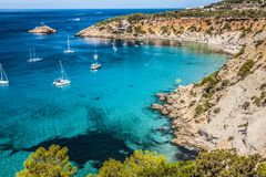 Es vedra island of Ibiza Cala d Hort in Balearic islands.  royalty free stock image