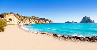 Es vedra island of Ibiza view from Cala d Hort Royalty Free Stock Photo