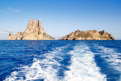 Es Vedra islet and Vedranell islands in blue Royalty Free Stock Photos