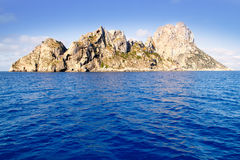 Es Vedra islet and Vedranell islands blue sea Royalty Free Stock Photos