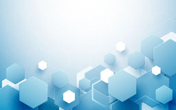 Esagoni blu e bianchi astratti che si ripetono e fondo futuristico di concetto di tecnologia Immagine Stock