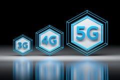 Esagoni e 3G, 4G, lettere 5G illustrazione vettoriale
