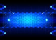 Esagono astratto su tecnologia blu del fondo di colore Immagine Stock Libera da Diritti