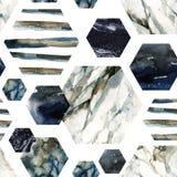 Esagono con le bande, marmo di colore di acqua, granuloso, lerciume, strutture di carta dell'acquerello illustrazione di stock