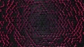 Esagono rosso astratto con il fondo al neon della geometria illustrazione vettoriale