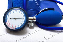 Esame del cuore di pressione sanguigna di Ekg Fotografie Stock