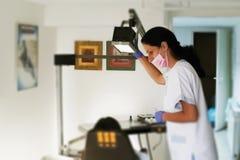 Esame del dentista denti pazienti Ufficio del dentista fotografia stock libera da diritti