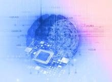 Esame dell'impronta digitale sull'illustrazione del cervello 3d Fotografia Stock