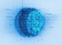 Esame dell'impronta digitale sull'illustrazione del cervello 3d Fotografie Stock Libere da Diritti