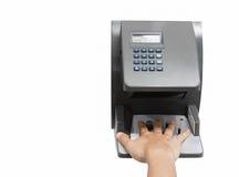 Esame della mano per accesso in sistema di sicurezza, isolata su briciolo immagine stock