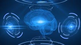Esame di Digital del cervello umano Fondo astratto con il plesso, hud royalty illustrazione gratis