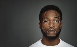 Esame futuristico e tecnologico del fronte per riconoscimento facciale fotografie stock